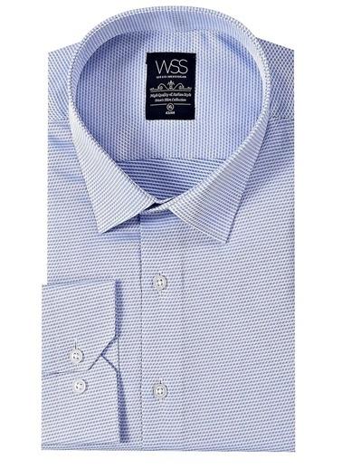 Wessi Erkek Kendinden Desenli Uzun Kollu Slim Fit Gömlek Mavi